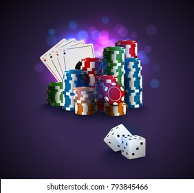Poker vector illustration, stack of poker chips, ace cards on bokeh purple background, two white dices on foreground. Gambling online casino winner poster