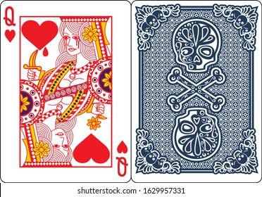 poker,playing card,Queen spades, diamond, clubs, heart