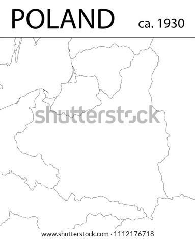 Ww2 Poland Map.Poland Before World War Ii Contour Stock Vector Royalty Free