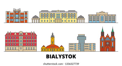 Poland, Bialystok flat landmarks vector illustration. Poland, Bialystok line city with famous travel sights, skyline, design.