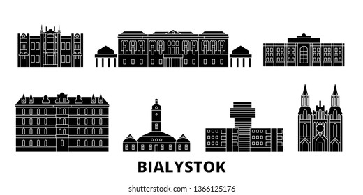 Poland, Bialystok flat travel skyline set. Poland, Bialystok black city vector illustration, symbol, travel sights, landmarks.