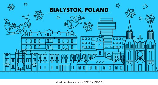 Poland, Bialystok winter holidays skyline. Merry Christmas, Happy New Year decorated banner with Santa Claus.Flat, outline vector.Poland, Bialystok linear christmas city illustration