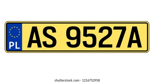 Poland car plate. Vehicle registration number