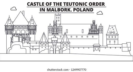 Poland - Castle Of The Teutonic Order In Malbork travel famous landmark skyline, panorama, vector. Poland - Castle Of The Teutonic Order In Malbork linear illustration