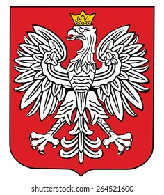 Poland coat of arms, seal, national emblem, isolated on white background. Vector Coat of arms of poland, Original and simple Poland coat of arms in official colors and Proportion Correctly.