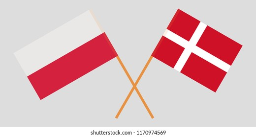 Poland and Denmark. Crossed Polish and Danish flags. Official colors. Correct proportion. Vector illustration