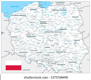Poland Detail Map White Color - Detailed map of Poland vector illustration.