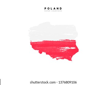 Poland detailed map with flag of country. Painted in watercolor paint colors in the national flag.