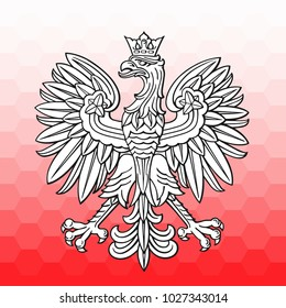 Poland eagle over white red mosaic as patriotic background, vector national emblem.