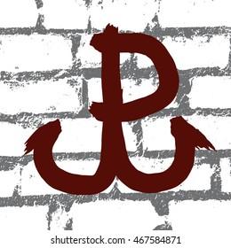 Poland fights (Polska walczy), symbol of Polish resistance movement during World War II isolated on white background. Vector illustration