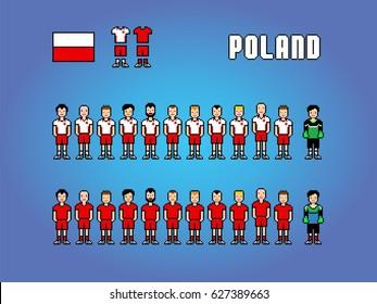 Poland football soccer player uniform pixel art game illustration
