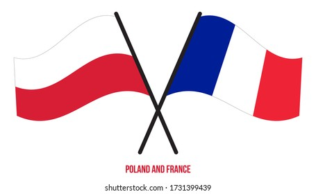 Poland and France Flags Crossed And Waving Flat Style. Official Proportion. Correct Colors.