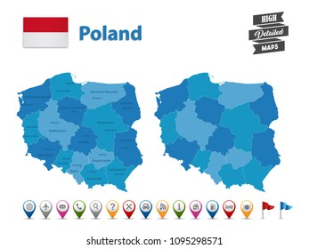 Poland - High Detailed Map With GPS Icon Collection