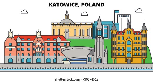 Poland, Katowice. City skyline, architecture, buildings, streets, silhouette, landscape, panorama, landmarks. Editable strokes. Flat design line vector illustration concept. Isolated icons set