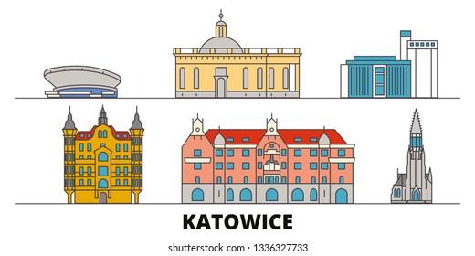 Poland, Katowice flat landmarks vector illustration. Poland, Katowice line city with famous travel sights, skyline, design.