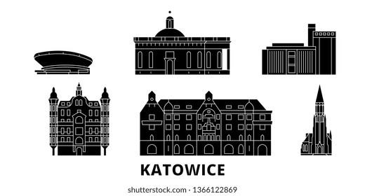 Poland, Katowice flat travel skyline set. Poland, Katowice black city vector illustration, symbol, travel sights, landmarks.