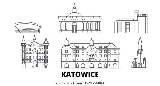 Poland, Katowice line travel skyline set. Poland, Katowice outline city vector illustration, symbol, travel sights, landmarks.