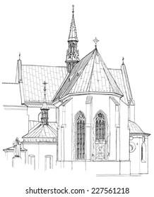 Poland. Krakow. Church. Vector sketch