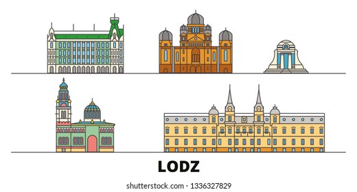 Poland, Lodz flat landmarks vector illustration. Poland, Lodz line city with famous travel sights, skyline, design.