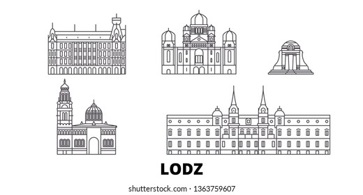 Poland, Lodz line travel skyline set. Poland, Lodz outline city vector illustration, symbol, travel sights, landmarks.