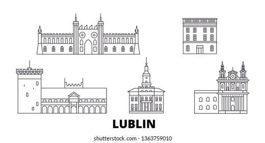 Poland, Lublin line travel skyline set. Poland, Lublin outline city vector illustration, symbol, travel sights, landmarks.