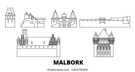 Poland, Malbork line travel skyline set. Poland, Malbork outline city vector illustration, symbol, travel sights, landmarks.