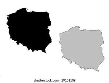 Poland map. Black and white. Mercator projection.