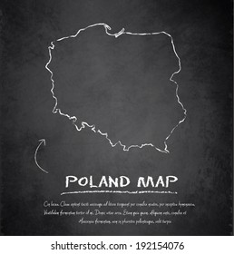 Poland map blackboard chalkboard vector