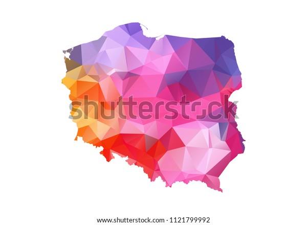 poland map blue vector illustration in polygonal style on white background. colorful abstract of poland map. Abstract tessellation,modern design background.