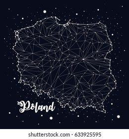 Poland, map, constellation, vector