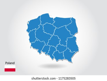 Poland map design with 3D style. Blue Poland map and National flag. Simple vector map with contour, shape, outline, on white.