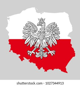 Poland map with eagle and white red polish flag, vector national emblem.