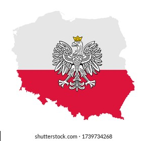 Poland map with flag and Poland coat of arms over map vector illustration. National symbol. Europe union state.