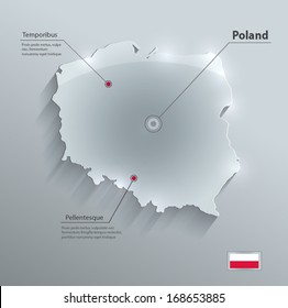 Poland map flag glass card paper 3D vector blue