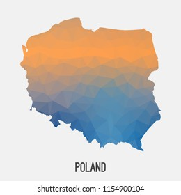 Poland map in geometric polygonal,mosaic style.Abstract tessellation,modern design background,low poly. Geometric cover, mockup. Vector illustration.