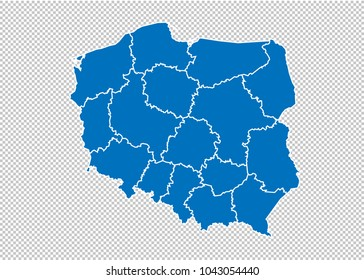 poland map - High detailed blue map  with counties/regions/states of poland. poland map isolated on transparent background.