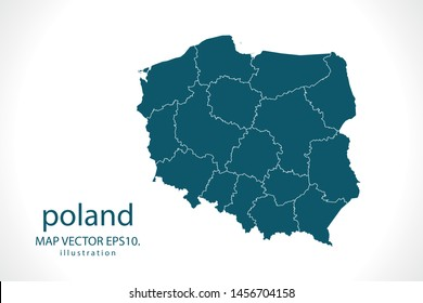 poland map High Detailed on white background. Abstract design vector illustration eps 10