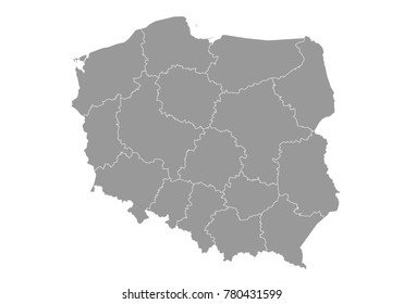 poland map. High detailed map of poland on white background. Vector illustration eps 10.