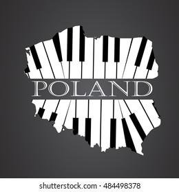 poland map logo made from piano
