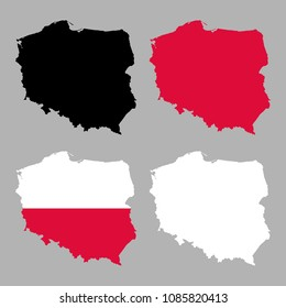 Poland map with national flag decoration