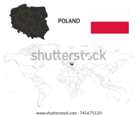 Poland Map On World Map Flag Stock Vector (Royalty Free) 745675120 ...