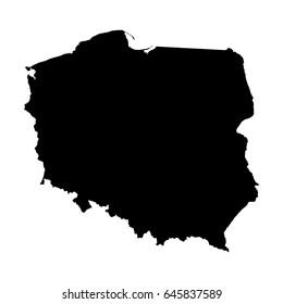 Poland Map Outline Shape Black on White Vector Illustration