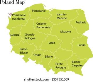 Poland map vector illustration