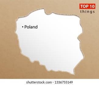 Poland map vector. Polish maps craft paper texture. Empty template information creative design element.