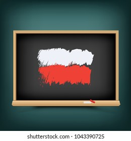 Poland national flag draw on school education blackboard. Polish standard banner backdrop. Learn language lesson