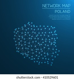 Poland network map. Abstract polygonal map design. Internet connections vector illustration.