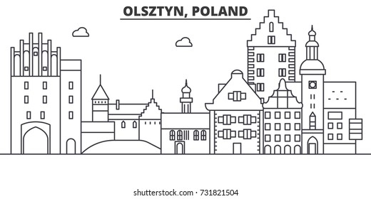 Poland, Olsztyn architecture line skyline illustration. Linear vector cityscape with famous landmarks, city sights, design icons. Landscape wtih editable strokes