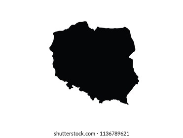 Poland outline map national borders country shape state