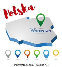 Poland outline map, Warszawa, Warsaw, vector illustration