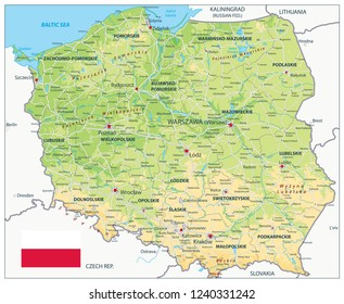 Poland Physical Map. Highly detailed map vector illustration. Image contains layers with shaded contours, land names, city names, water objects and it's names, highways.